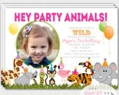 Zoo Birthday Party Invitation, Safari Invitation, Jungle Themed Invite, Wild Animal,  Neon, Bright Colored Girl Invitation - PRINTABLE