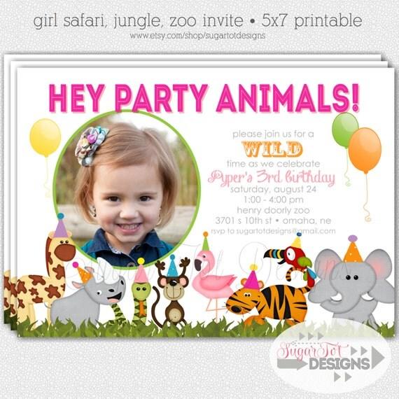 Zoo Animals Birthday Party Invitations Image Inspiration of Cake – Zoo Themed Birthday Invitations