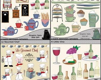Fine Dining Clipart Bundle, Chef Clipart, Restaurant Clipart, Wine Clipart - Digital Scrapbooking Kit