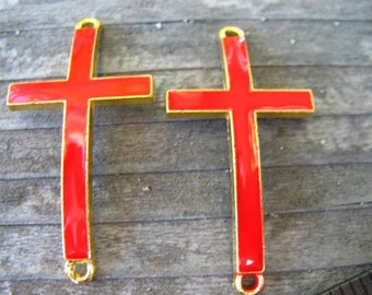 2 Red Enamel Cross Connectors 47mm Gold and Red