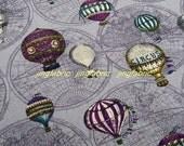 "L378B -  Cotton Linen Fabric - Vintage hot air balloon - Dark Purple - 27x19""(70x50cm)"