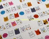 """L383 -  Cotton Linen Fabric - Lucky Cat- 27x19""""(70x50cm)"""