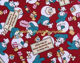 "W247D  - Vinyl Waterproof Fabric - Cartton - Rabbit - Wine Red  - 27""x19""(70cmX50cm)"