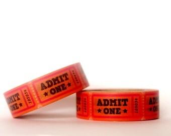 Admit One Orange Ticket Washi Tape