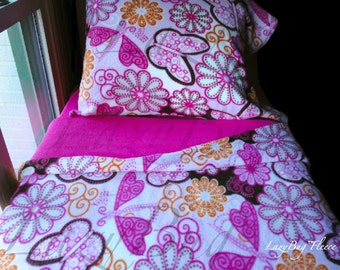 Butterfly Baby Girl Toddler Fleece Bedding Set 'Pink Butterflies' Handmade Fits Crib and Toddler Beds