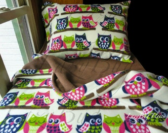 Owl Bed Set Girls Toddler Fleece Bedding Set 'Owls with Brown' Handmade Fits Crib and Toddler Beds