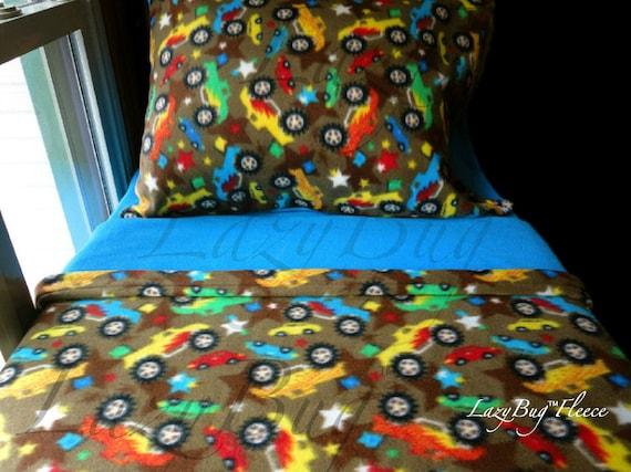 Monster Trucks Blue Toddler Fleece Bedding Set for Boys