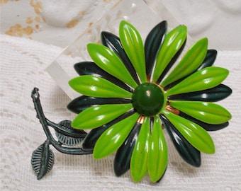 Green Enamel Flower Brooch Large
