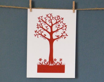 HALF PRICE Greeting Card taken from 'Love Tree' paper cut by Loula Belle At Home