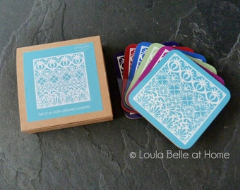 LESS than HALF PRICE Tile Coasters, taken from a paper cut inspired by the designs found on tiles, boxed set of six