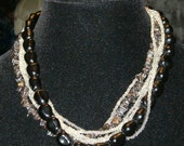 "Vintage 1960's Triple Strand Necklace, Hematite, Clear Glass Beads and Black Beads, Plus 3""Drop"
