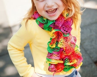 Tie Dye Ruffle Scarf Deep Autumn Toddler Girl Child Size Green Golden Yellow Orange Pink Fuchsia