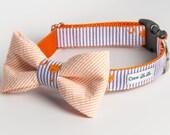 Purple & Orange Palmetto Seersucker Bow Tie Dog Collar