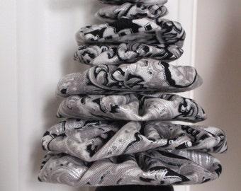 Silver, Black and White Swirl Paisley Print Jingle Bell Yo Yo Christmas Tree Ornament