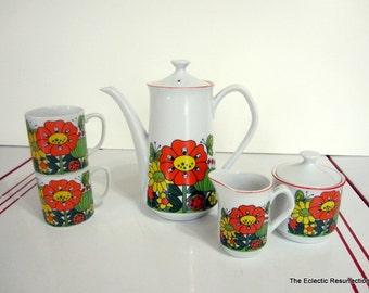 Vintage Coffee Serving Set Ceramic Funky Flower Power-A Price Import Japan 7 pcs