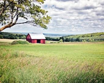 Red barn canvas, red barn print, barn photo, rural midwest farm photo, Midwest farm print, farm canvas