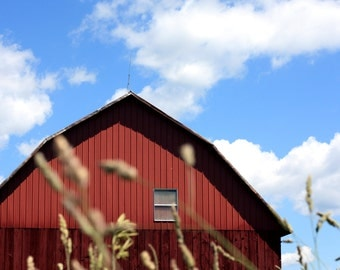 Red barn print, red barn canvas, red barn photo, midwest print, rural photography, farm photo, oversized print, oversized art