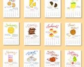 2017 Cookie Calendar - Kitchen Calendar - Illustrated Desk Calendar - 5x7 Calendar - Cookie Classics