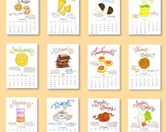 SALE - 2017 Cookie Calendar - Kitchen Calendar - Illustrated Desk Calendar - 5x7 Calendar - Cookie Classics