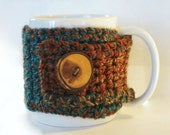 Crochet Coffee Cup Cozy - Woodland Tweed With Rustic Button - Back To School - Stocking Stuffer - Teacher Gift