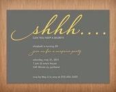 custom surprise adult birthhday party invitation invites - shhhh