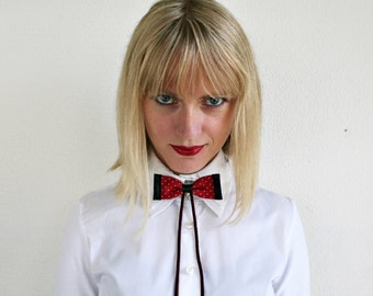 Polka dot bow tie bolo, silk and leather bolo bow tie, women's and men's accessory in red black white silver (B09)