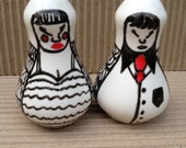 Salt and Pepper shakers-Mr Pepper and Mrs Salt - Salt and Pepper Pots-cruet set.