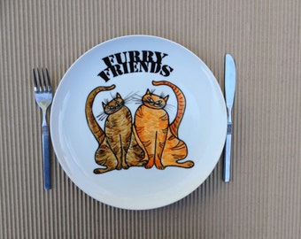Plate ,hand painted plate ,size 11 inches, Cat illustration, dinner plate ,wall art ,wall hanging,decorative wall plate,kitchen plate.