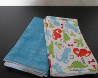 Baby Burp cloths Set of Four - Dinosaur - Blue