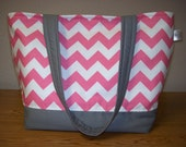 Oh so sweet pink and white chevron tote bag with gray accents/ pink, white, gray diaper bag/