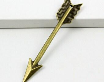 10Pcs Antique Brass Arrow Charm Arrow Pendant 63x11mm (PND386)
