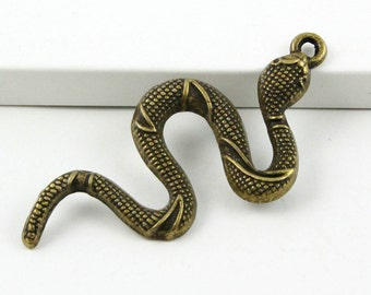 10Pcs Antique Brass Snake Charm Snake Pendant 50x24mm (PND408)