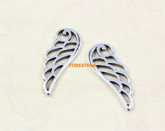 50Pcs Antique Silver Wing Charm Angel Wing Pendant 23x9mm (PND771)