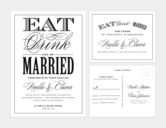 Eat Drink and Be Married Wedding Invitation & Response Card - Vintage Wedding, Black and White, Classic, Elegant, Formal, Set, Collection