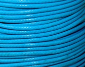 3 Yards - 1.5mm TURQUOISE Blue KOREA Waxed Cotton Cord - 9 Feet Round Cotton Wax Cord - Beading Stringing Cord - Instant Ship - USA Seller