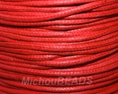 5 Yard - RED Wax Cotton Cord - Pick SIZE 0.5mm / 1mm / 2mm Soft Light Wax Round Biodegradable Non Shiny Cotton Cord - Wholesale USA Seller