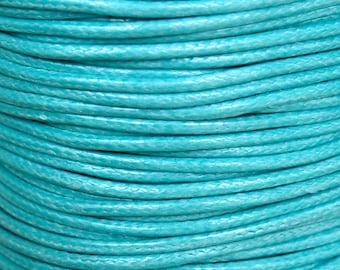 3 Yard -0.5 mm AQUA Blue  KOREA Waxed Cotton Cord - Round Cotton Wax Cord - 3 Feet Cotton Beading Stringing Cord - USA Seller