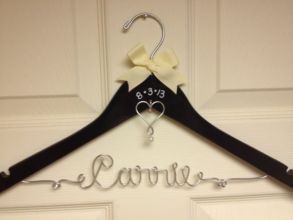 Personalized wire wedding dress hanger w by for Personalized wire wedding dress hanger