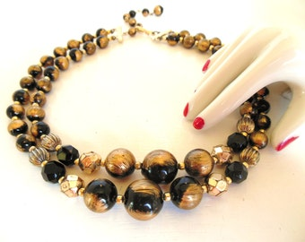 """Vintage Necklace Choker Black Gold 50's 17"""" (item 12)"""