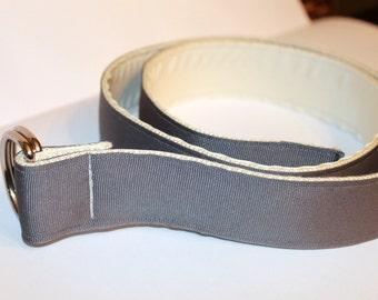 "D Ring Belt Groomsmen Grey and Cream Ribbon Belt 1.5"" Wide Men's Grey Ribbon Belt Cream D Ring bElt Reversible Men's Belt"