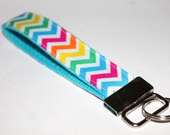 Chevron Key Fob Key Chain Wristlet Rainbow