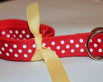 Red Polka Dot Ribbon Belt  Velcro Available