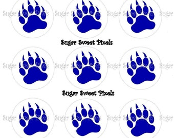 INSTANT DOWNLOAD  Blue Bear Claw Paw Single color Print School Mascot 1 inch Circle Bottlecap Images 4x6 sheet