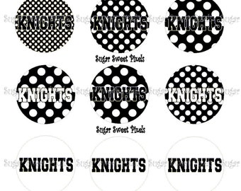 INSTANT DOWNLOAD Black White Knights Polka dot 1 inch circle Bottlecap Images