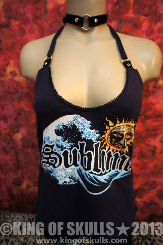 Sublime DIY Halter Tank Top M T-shirt altered to womens sexy