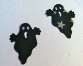 50 GHOST Hand punched die cuts, paper punches Black with white stars ,HALLOWEEN, scrap booking, fall craft supplies