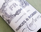 Wedding Wine Label with French Rococo style, Set of 18 Personalized