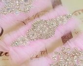 Pink tulle Wedding Garter- rhinestone applique, ornate, wedding tradition, keepsake garter, toss garter, tulle garter, crystal, pearls