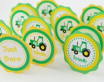 Tractor 12 Month Photo Banner, 1st Year Photo, First Year Banner,Tractor Birthday Party,Tractor 1st Year Banner, Construction Theme, c-1008
