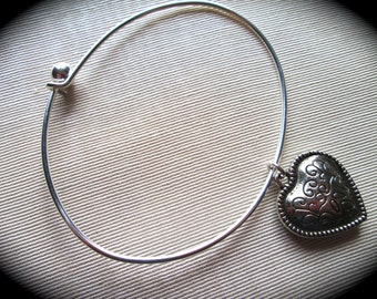 Silver Heart bangle bracelet with puffed heart charm